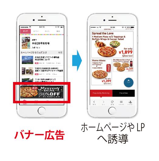 スマートフォンにバナー広告を配信します